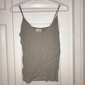 Aritzia Wilfred Free Taupe V-Neck Tank Top